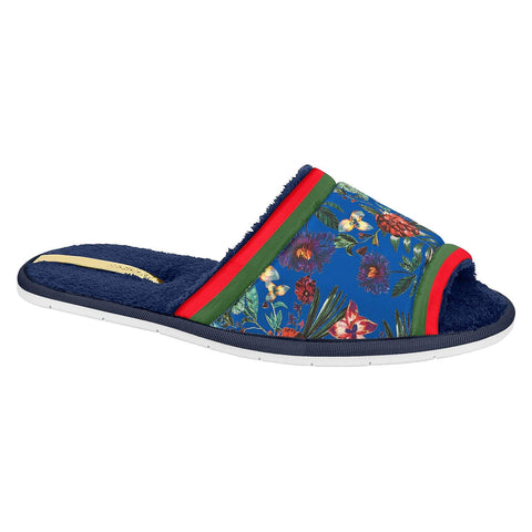 Moleca 5427-102 Floral Slipper in Multi Navy