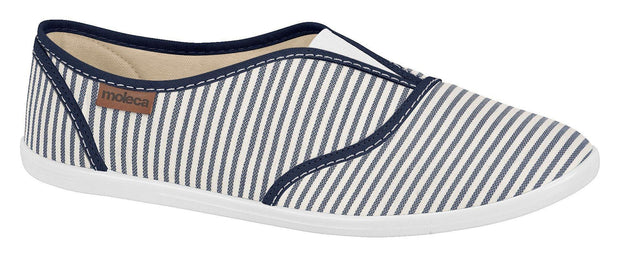 Moleca 5602-100 Slip-on Canvas Flat in Multi Navy