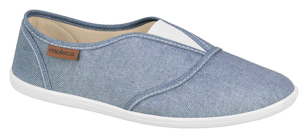 Moleca 5602-100 Slip-on Canvas Flat in Light Denim