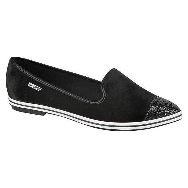Moleca 5615-205 Pointy Toe Flat in Black Velvet