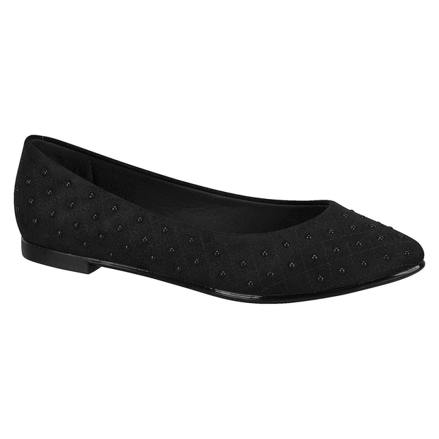 Moleca 5641-100 Studded Flat in Black Suede