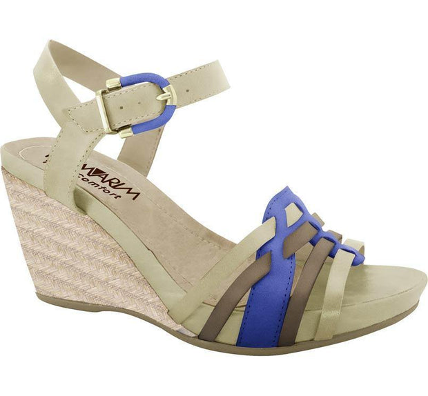 Ramarim Leather Wedge 14-12205 Almond/Chocolate/Blue