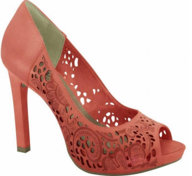 Ramarim 14-22204 High Heel Peeptoe with Floral Laser Cut-outs in Guava