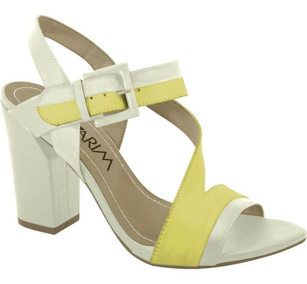 Ramarim 14-52202 Block Heel Sandal in Creme/Yellow