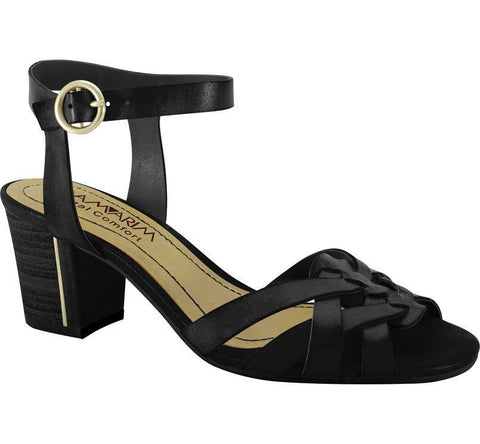 Ramarim 14-70204 Low Heel Sandal in Black Napa