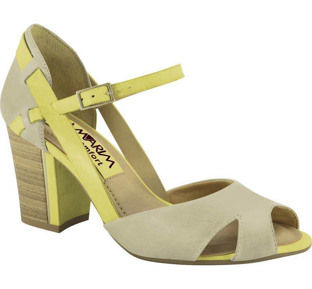 Ramarim 14-73202 Block Heel Sandal in Almond/Yellow