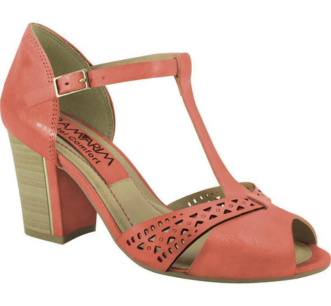 Ramarim 14-73204 Block Heel T-Bar Sandal in Guava