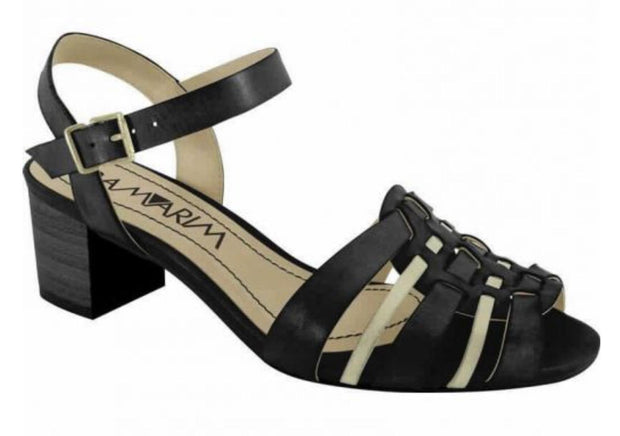 Ramarim 14-87201 Low Heel Sandal in Black / Almond