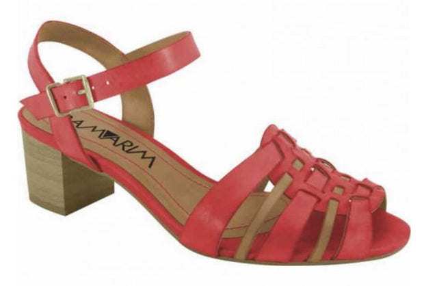 Ramarim 14-87201 Low Heel Sandal in Red / Caramel