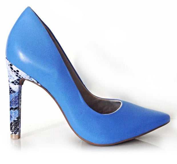 Ramarim 15-23272 Blue Leather Pointy Toe Pump with Snake Heel