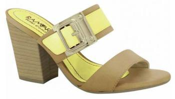 Ramarim 15-41201 Block Heel Slip-on Sandal in Caramel / Yellow Leather