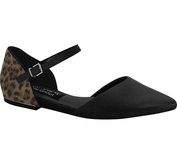 Ramarim 15-84102 Pointy Toe Flat in Black/Chocolate