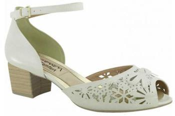 Ramarim 15-92202 Low Block Heel Peeptoe in Cream Sandals Ramarim