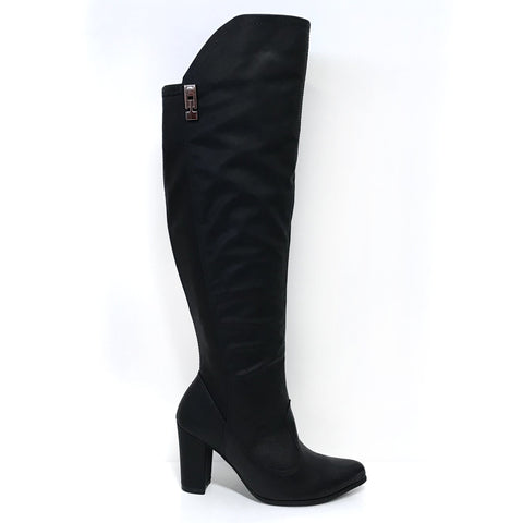 Ramarim 16-15136 Block Heel Long Boot in Black