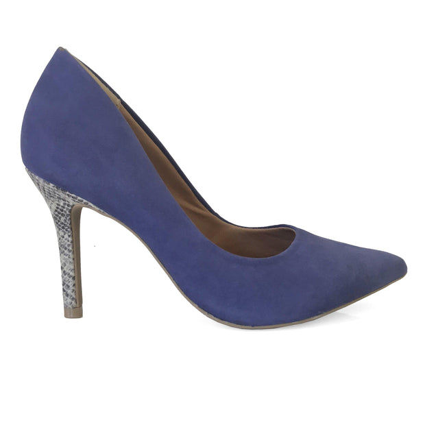 Ramarim 16-23151 Pointy Toe Pump in Navy Nobuck with Snakeskin Heel