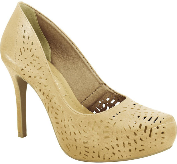 Ramarim 16-40252 High Heel Platform Pump with Lazer Cutouts in Almond Napa