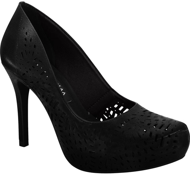 Ramarim 16-40252 High Heel Platform Pump with Lazer Cutouts in Black Napa