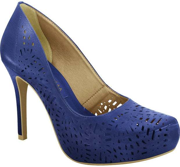 Ramarim 16-40252 High Heel Platform Pump with Lazer Cutouts in Blue Napa
