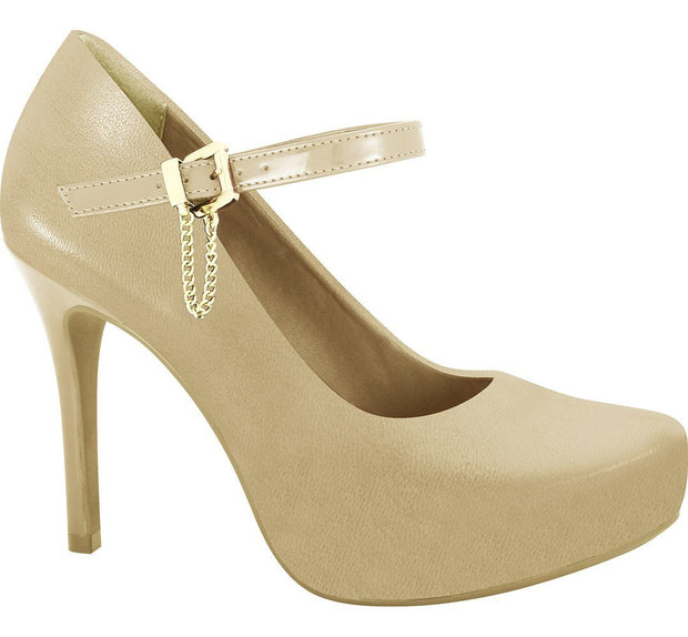 Ramarim 16-40254 High Heel Platform Pump with Mary-Jane Strap in Almond Napa