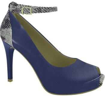 Ramarim 16-47154 High Heel Ankle Strap Peeptoe in Navy Napa