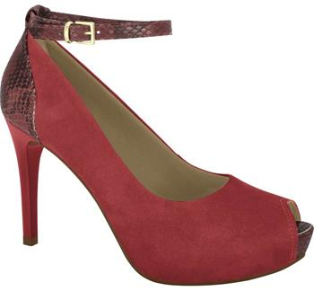 Ramarim 16-47154 High Heel Ankle Strap Peeptoe in Red Nubuck