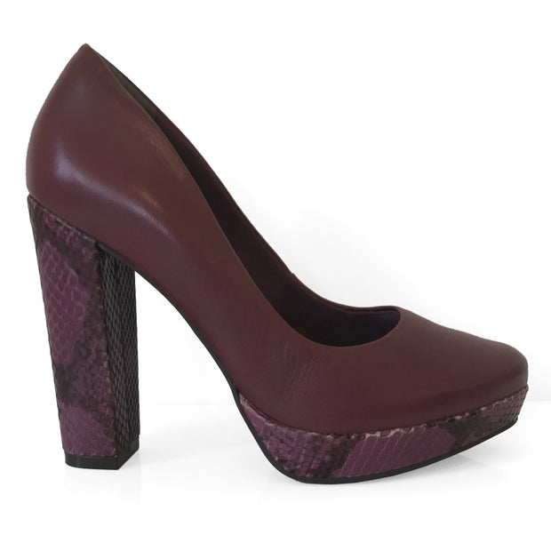 Ramarim 16-68151 Chunky Heel Pump in Wine Leather Heels Ramarim