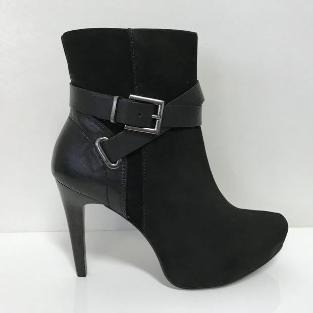 Ramarim 16-79153 High Heel Ankle Boot in Black Nubuck