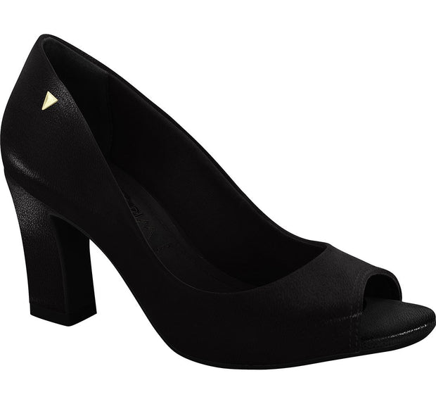 Ramarim 16-93251 Block Heel Peep Toe Pump in Black Napa
