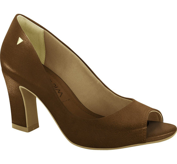 Ramarim 16-93251 Block Heel Peep Toe Pump in Brown Napa