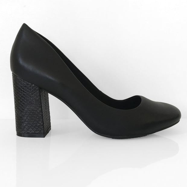 Ramarim 16-97152 Block Heel Pump in Black Napa