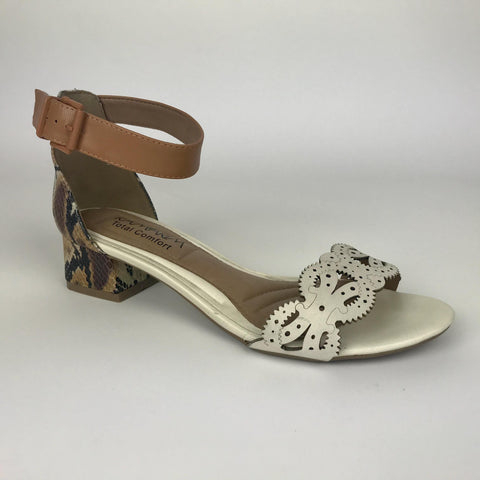 Ramarim 15-14207 Low Heel Sandal in Cream / Caramel