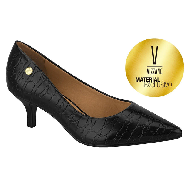 Vizzano 1122-628 Kitten Heel Pump in Black Croc