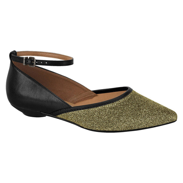 Vizzano 1131-1105 Pointy Toe Flat with Ankle Strap in Gold/Black Flats Vizzano