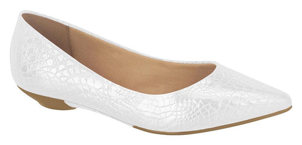 Vizzano 1131-510 Pointy Toe Flat in White Croc