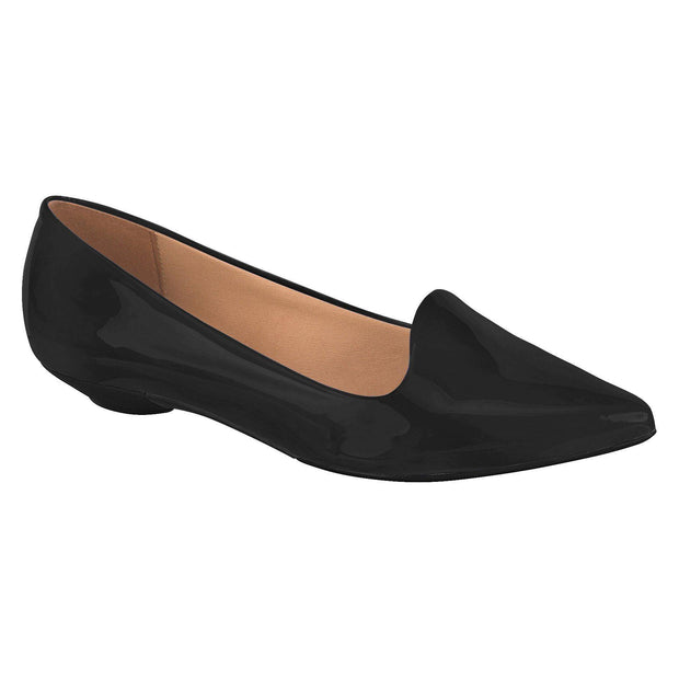 Vizzano 1131-529 Pointy Toe Flat in Black Patent