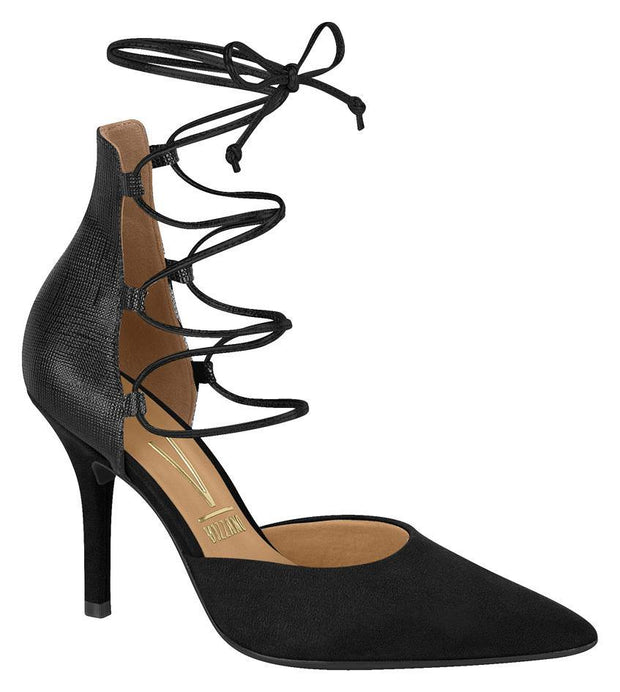 Vizzano 1184-139 Strappy Pointy Toe Pump in Black Suede