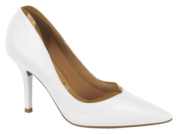 Vizzano 1184-147 Pointy Toe Pump in White Napa with Camel Trim