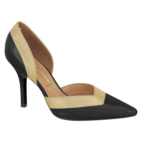 Vizzano 1184-156 Pointy Toe D'Orsay Pump in Black/Gold