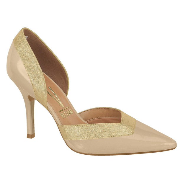 Vizzano 1184-156 Pointy Toe DOrsay Pump in Beige/Gold