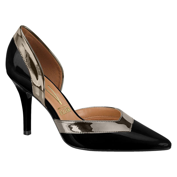 Vizzano 1184-156 Pointy Toe DOrsay Pump in Black Patent with Graphite Trim