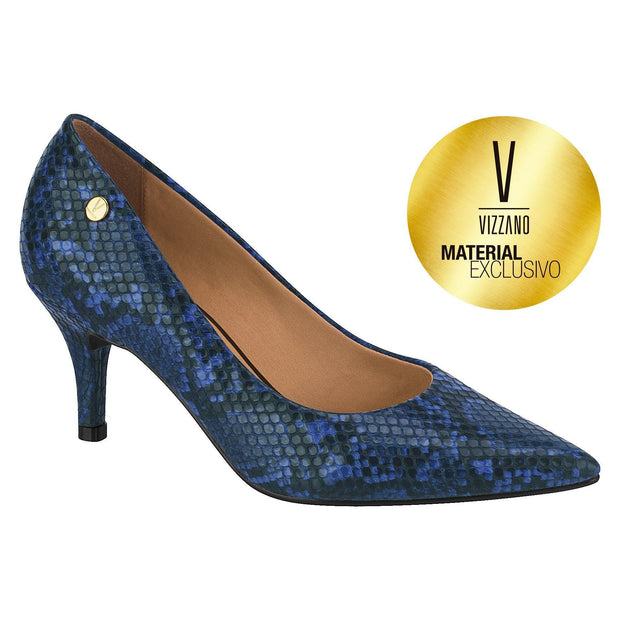 Vizzano 1185-102 Pointy Toe Pump in Blue Cobra
