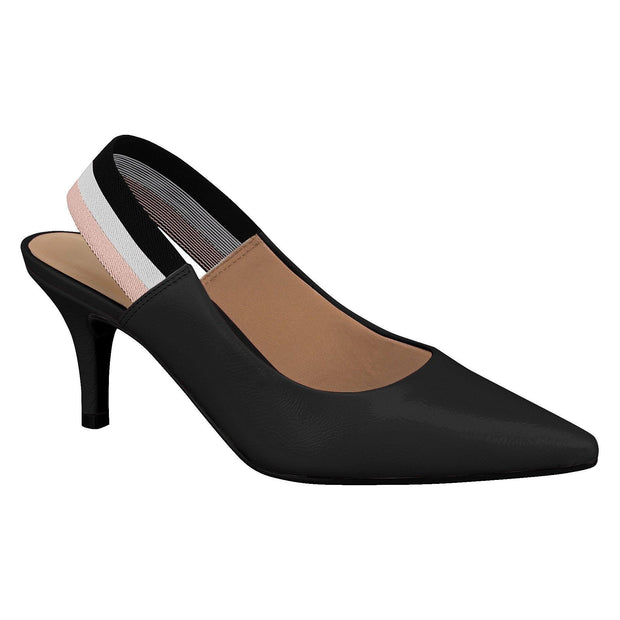 Vizzano 1185-175 Low Heel Slingback in Black Patent