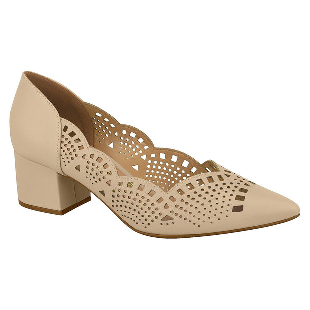 Vizzano 1220-227 Block Heel Pump with Cutouts in Beige Napa