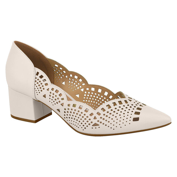 Vizzano 1220-227 Block Heel Pump with Cutouts in Cream Napa