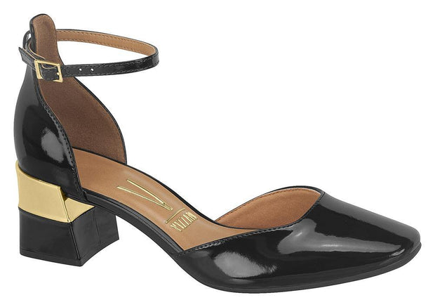 Vizzano 1227-202 Block Heel Pump with Ankle Strap in Black /Gold