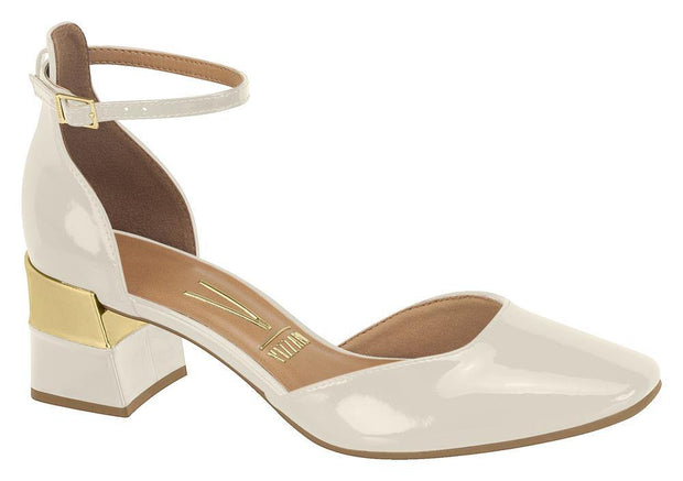 Vizzano 1227-202 Block Heel Pump with Ankle Strap in Off White/Gold