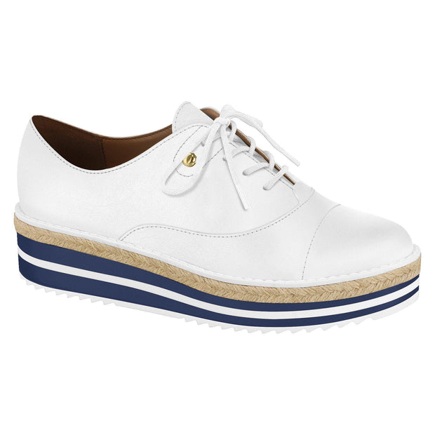 Vizzano 1241-100 Stripy Navy/White Sole Sneaker in White Napa
