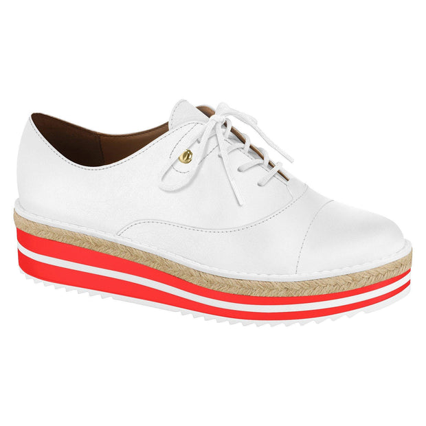 Vizzano 1241-100 Stripy Coral/White Sole Sneaker in White Napa