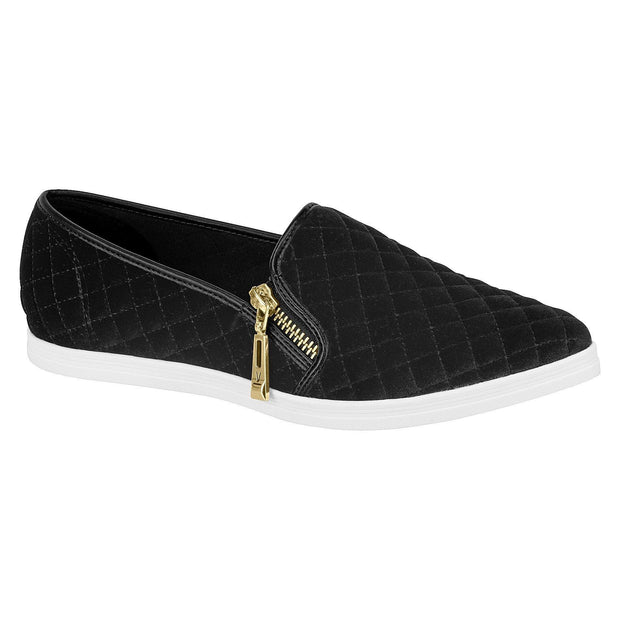 Vizzano 1243-102 Vizzano White Sole Pointy Toe Flat in Black Velvet Sneakers Vizzano