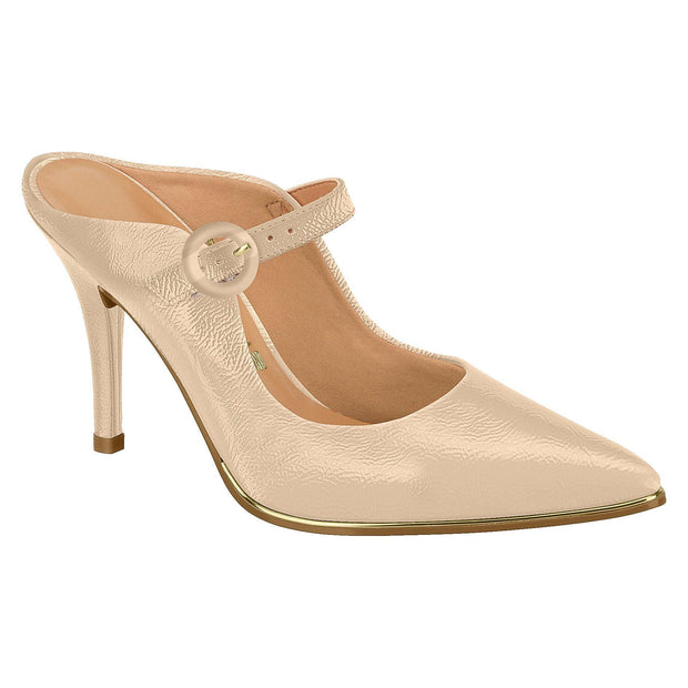 Vizzano 1267-112 Strapped High Heel Mule in Beige Patent